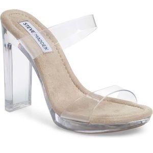 Steve Madden Glassy Clear High Heel Sandals Shoes